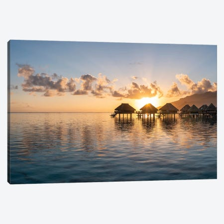 Overwater Bungalows At Sunrise, Moorea, French Polynesia Canvas Print #JNB1674} by Jan Becke Canvas Wall Art
