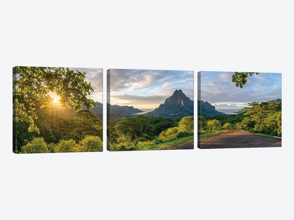 Belvedere Lookout With Mount Rotui At Sunset, Moorea, French Polynesia by Jan Becke 3-piece Canvas Art Print