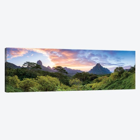 Panoramic Sunset View Of Mount Rotui On Moorea, French Polynesia Canvas Print #JNB1677} by Jan Becke Canvas Art