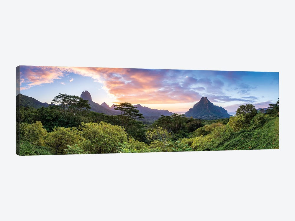 Panoramic Sunset View Of Mount Rotui On Moorea, French Polynesia by Jan Becke 1-piece Canvas Artwork