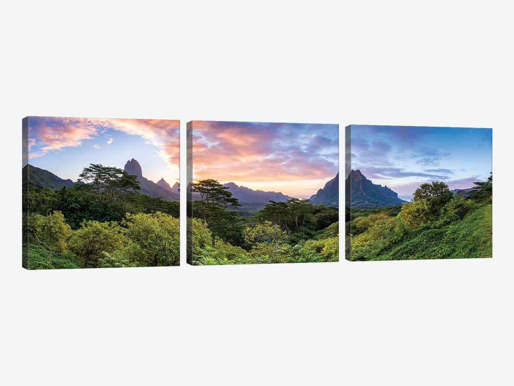 Panoramic Sunset View Of Mount Rotui On Moorea, French Polynesia by Jan Becke 3-piece Canvas Artwork