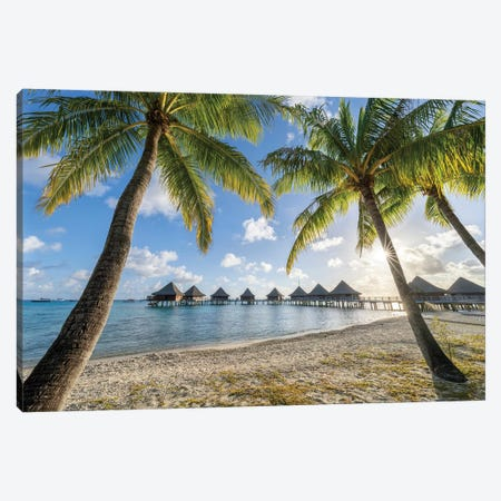 Overwater Bungalows At A Luxury Beach Resort, French Polynesia Canvas Print #JNB1682} by Jan Becke Canvas Wall Art