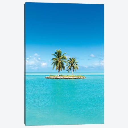 Small Tropical Island With Palm Trees Canvas Print #JNB169} by Jan Becke Canvas Wall Art