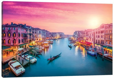 Canal Grande At Sunset, Venice Canvas Art Print
