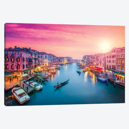 Canal Grande At Sunset, Venice Canvas Print #JNB16} by Jan Becke Art Print
