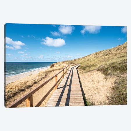 """Wooden Boardwalk Along The """"Rotes Kliff"""" (Red Cliff), Sylt, Schleswig-Holstein, Germany Canvas Print #JNB1704} by Jan Becke Canvas Art"""