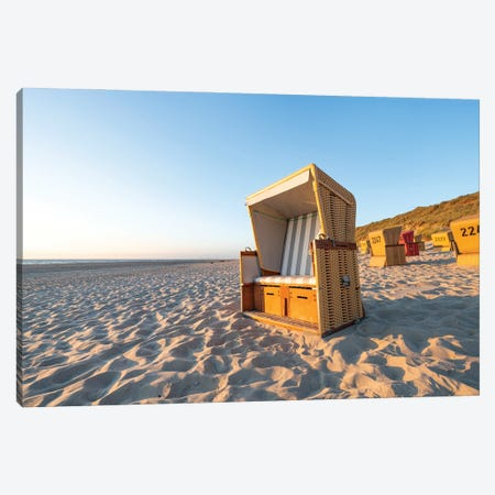 Traditional Roofed Wicker Beach Chair Near The North Sea Coast Canvas Print #JNB1710} by Jan Becke Canvas Art