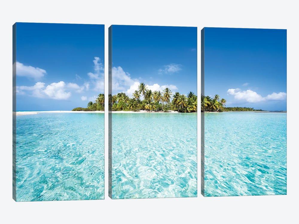 Uninhabited Tropical Island, French Polynesia by Jan Becke 3-piece Canvas Art Print