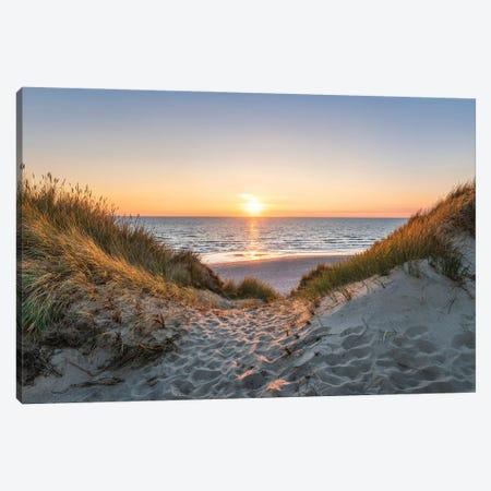 Dune Beach Sunset Canvas Print #JNB1719} by Jan Becke Canvas Art