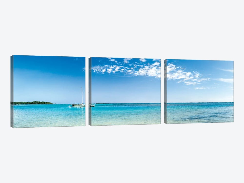 Panorama Of The Lagoon On Moorea Island by Jan Becke 3-piece Canvas Art