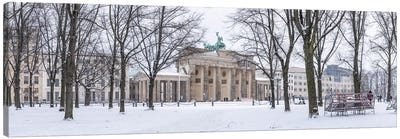 Brandenburg Gate (Brandenburger Tor) Panorama In Winter, Berlin, Germany Canvas Art Print