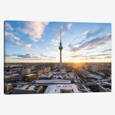 Fernsehturm Berlin (Berlin Television Tower) At Sunset Canvas Print #JNB1730} by Jan Becke Canvas Wall Art