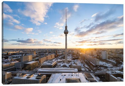 Fernsehturm Berlin (Berlin Television Tower) At Sunset Canvas Art Print