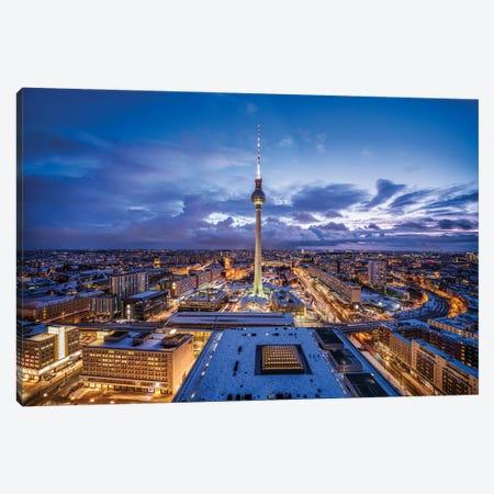 Fernsehturm Berlin (Berlin Television Tower) At Night Canvas Print #JNB1733} by Jan Becke Canvas Art