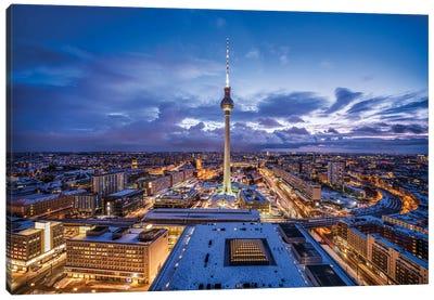 Fernsehturm Berlin (Berlin Television Tower) At Night Canvas Art Print