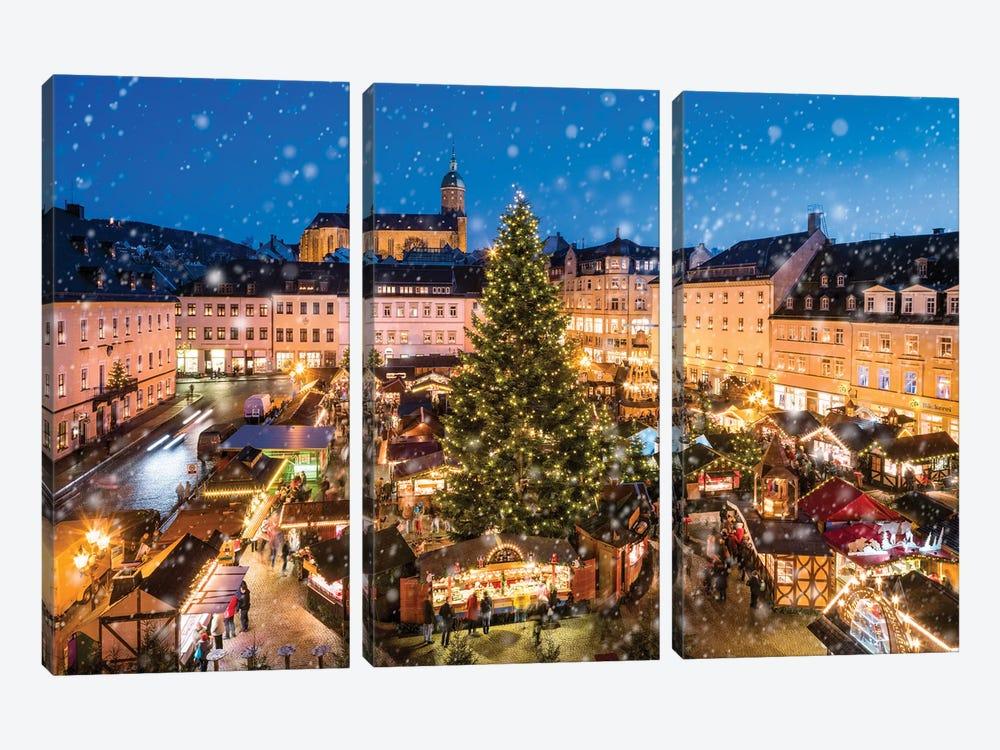 Annaberg-Buchholz Christmas Market, Saxony, Germany by Jan Becke 3-piece Canvas Artwork