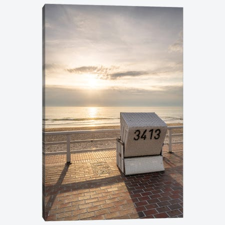 Sunset At The Westerland Weststrand Beach, Sylt, Schleswig-Holstein, Germany Canvas Print #JNB1756} by Jan Becke Canvas Print