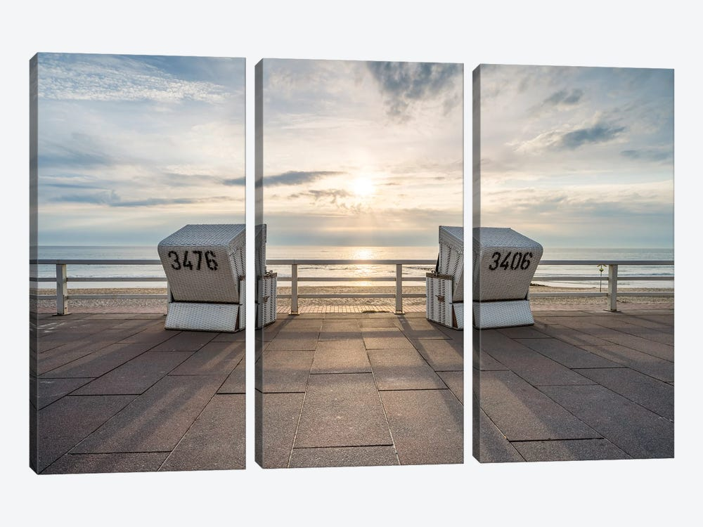 Sunset At The Weststrand Beach, Westerland, Sylt, Schleswig-Holstein, Germany by Jan Becke 3-piece Canvas Art Print