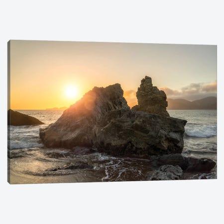 Large Rock Near The Coast At Sunset Canvas Print #JNB1760} by Jan Becke Art Print