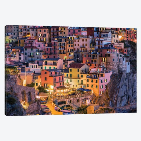 Colorful Houses In Manarola, Cinque Terre, Italy Canvas Print #JNB1820} by Jan Becke Canvas Artwork