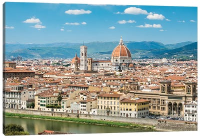 Florence Skyline With Florence Cathedral In Summer, Tuscany, Italy Canvas Art Print