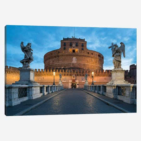 Castel Sant'Angelo And Ponte Sant'Angelo At Dusk, Rome, Italy Canvas Print #JNB1862} by Jan Becke Canvas Artwork