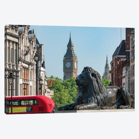 Sir Edwin Landseer's Lion With Big Ben In The Background, Trafalgar Square, London, United Kingdom Canvas Print #JNB1883} by Jan Becke Canvas Artwork