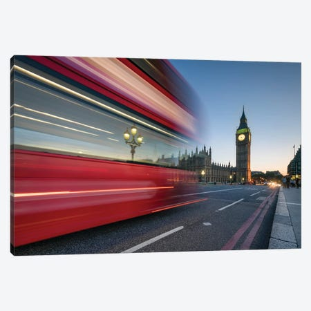 Red Double Decker Bus Crossing Westminster Bridge With Big Ben In The Background, London, United Kingdom Canvas Print #JNB1885} by Jan Becke Canvas Art Print