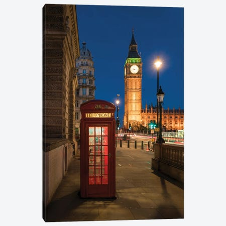 Traditional Red Telephone Booth In Front Of Big Ben, London, United Kingdom Canvas Print #JNB1890} by Jan Becke Canvas Art Print
