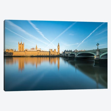 Palace Of Westminster With Big Ben And Westminster Bridge At Sunrise, London, United Kingdom Canvas Print #JNB1892} by Jan Becke Art Print