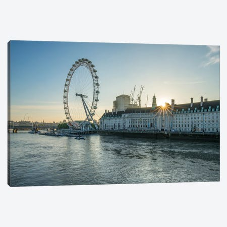 London Eye On The South Bank Of The River Thames At Sunrise, London, United Kingdom Canvas Print #JNB1896} by Jan Becke Canvas Art