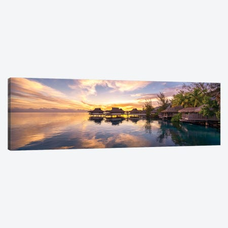 Sunset At A Luxury Beach Resort On Bora Bora, French Polynesia Canvas Print #JNB191} by Jan Becke Canvas Art Print
