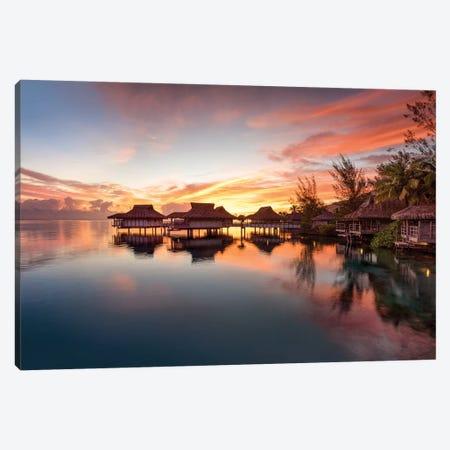 Romantic Sunset At A Luxury Beach Resort On Bora Bora Canvas Print #JNB194} by Jan Becke Canvas Wall Art