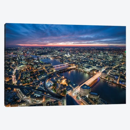 Aerial View Of London At Sunset Canvas Print #JNB195} by Jan Becke Canvas Artwork