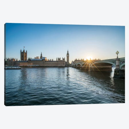 Sunset At The Westminster Bridge In London Canvas Print #JNB196} by Jan Becke Canvas Art