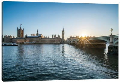 Sunset At The Westminster Bridge In London Canvas Art Print