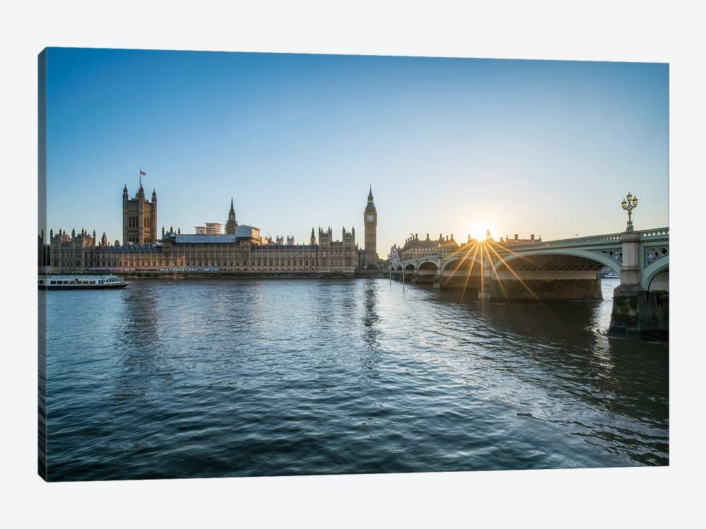 Sunset At The Westminster Bridge In London by Jan Becke 1-piece Canvas Print