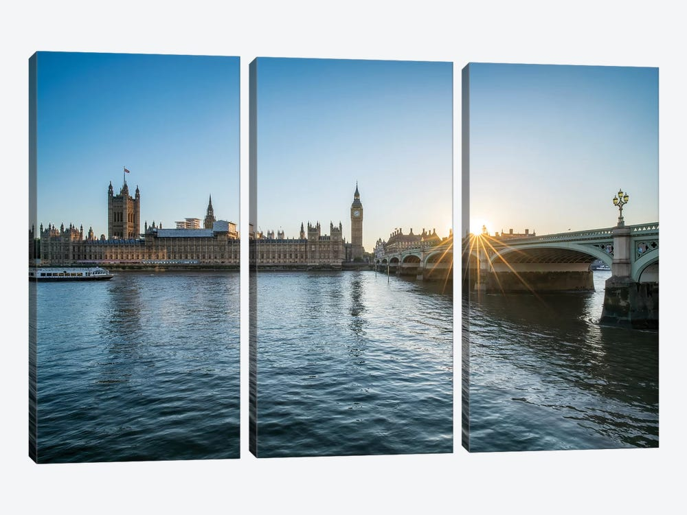Sunset At The Westminster Bridge In London by Jan Becke 3-piece Canvas Art Print