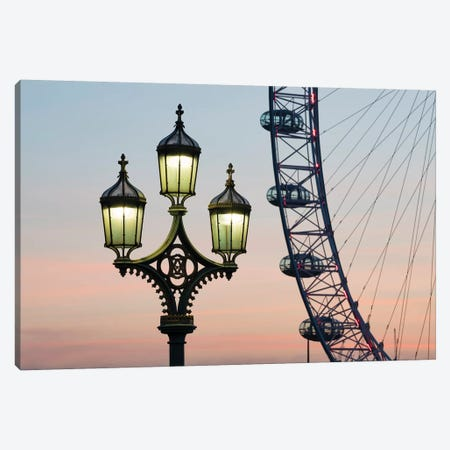 Street Lamp With London Eye In The Background Canvas Print #JNB198} by Jan Becke Canvas Print