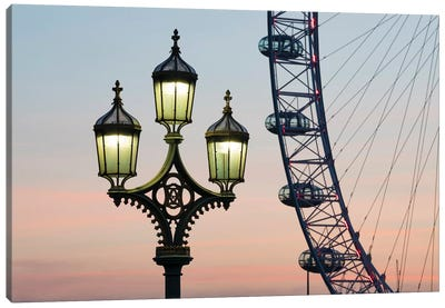 Street Lamp With London Eye In The Background Canvas Art Print