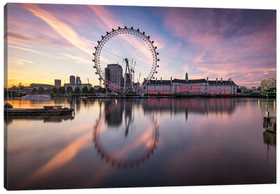 London Cityscape Along The Thames River With Millenium Wheel Canvas Art Print