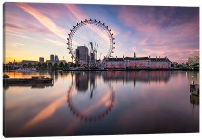 London Cityscape Along The Thames River With Millenium Wheel Canvas Art Print