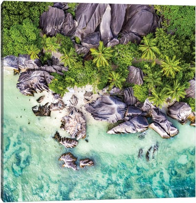 Aerial View Of Anse Source D'Argent Canvas Art Print