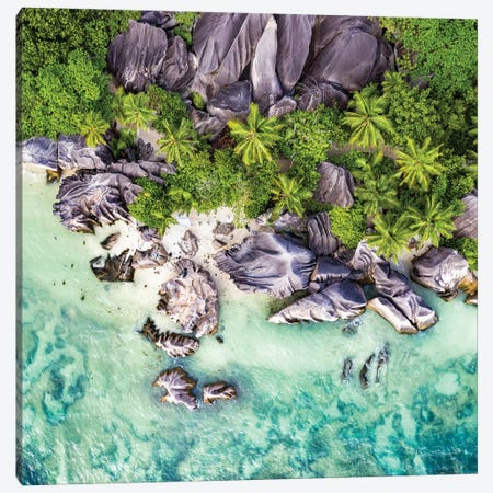 Aerial View Of Anse Source D'Argent Canvas Print #JNB1} by Jan Becke Canvas Art Print