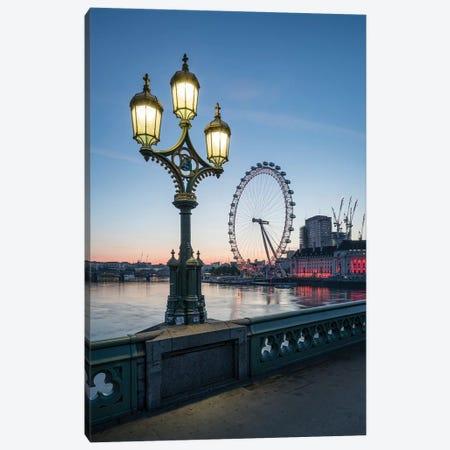London Eye And Westminster Bridge At Dusk Canvas Print #JNB200} by Jan Becke Canvas Print