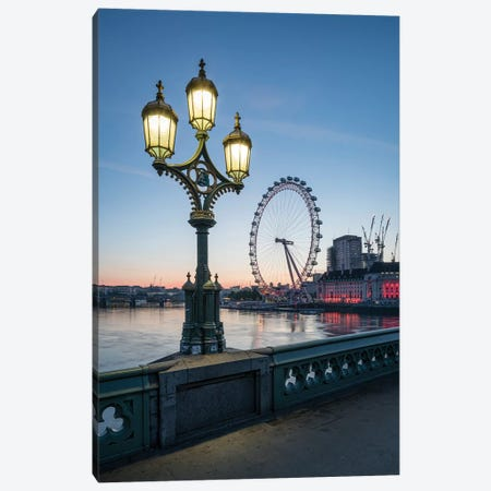 London Eye And Westminster Bridge At Dusk Canvas Print #JNB200} by Jan Becke Canvas Print