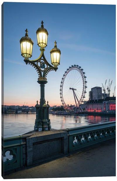 London Eye And Westminster Bridge At Dusk Canvas Art Print