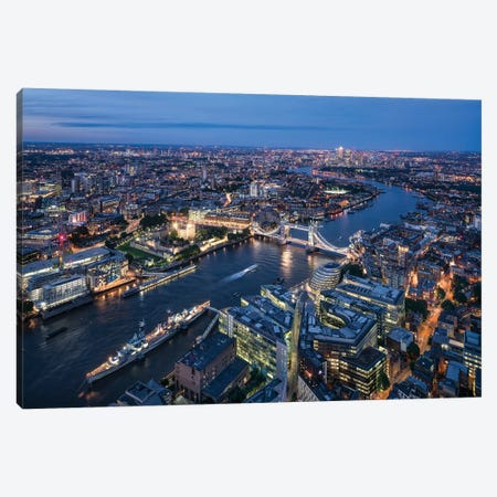 Aerial View Of London With Tower Bridge Canvas Print #JNB201} by Jan Becke Canvas Print