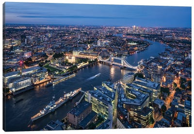 Aerial View Of London With Tower Bridge Canvas Art Print