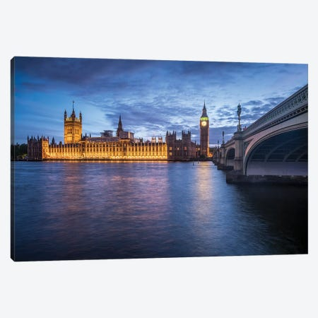 Palace Of Westminster And Big Ben Along The The River Thames Canvas Print #JNB202} by Jan Becke Canvas Art Print